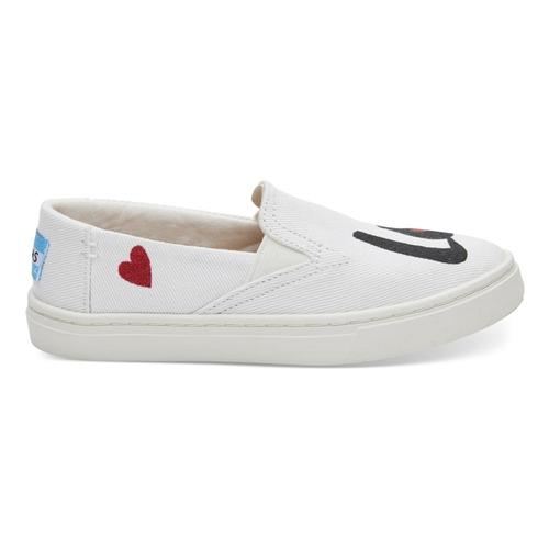 TOMS Youth White Denim LOVE Luca Slip-Ons