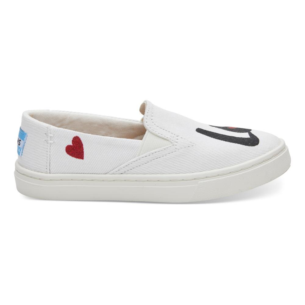 TOMS Youth White Denim LOVE Luca Slip-Ons WHTLOVE
