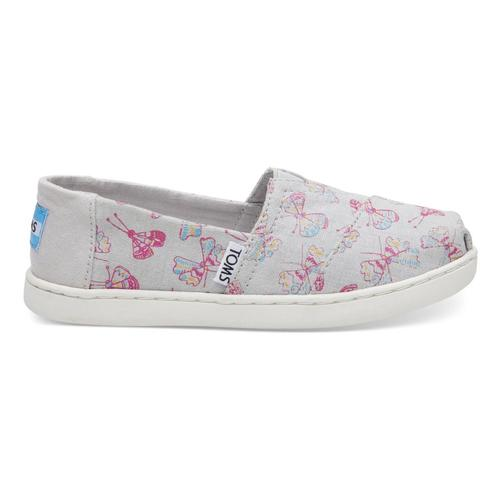 TOMS Youth Glacier Grey Metallic Butterflies Classics Alpargatas