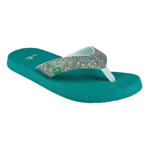 Sanuk Youth Yoga Glitter Flip Sandals Green