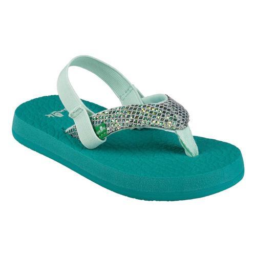 Sanuk Kids Yoga Glitter Flip Sandals Green