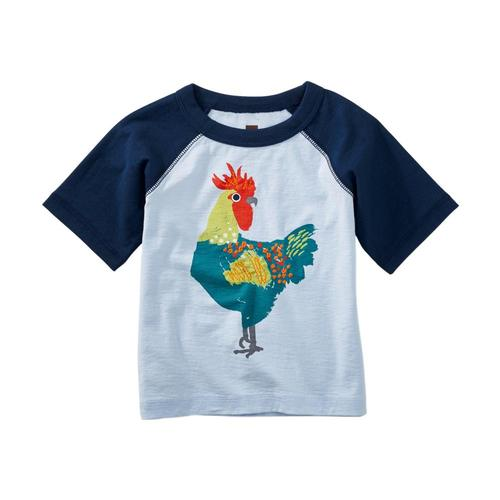 Tea Collection Infant Rooster Graphic Raglan Tee Vistablue