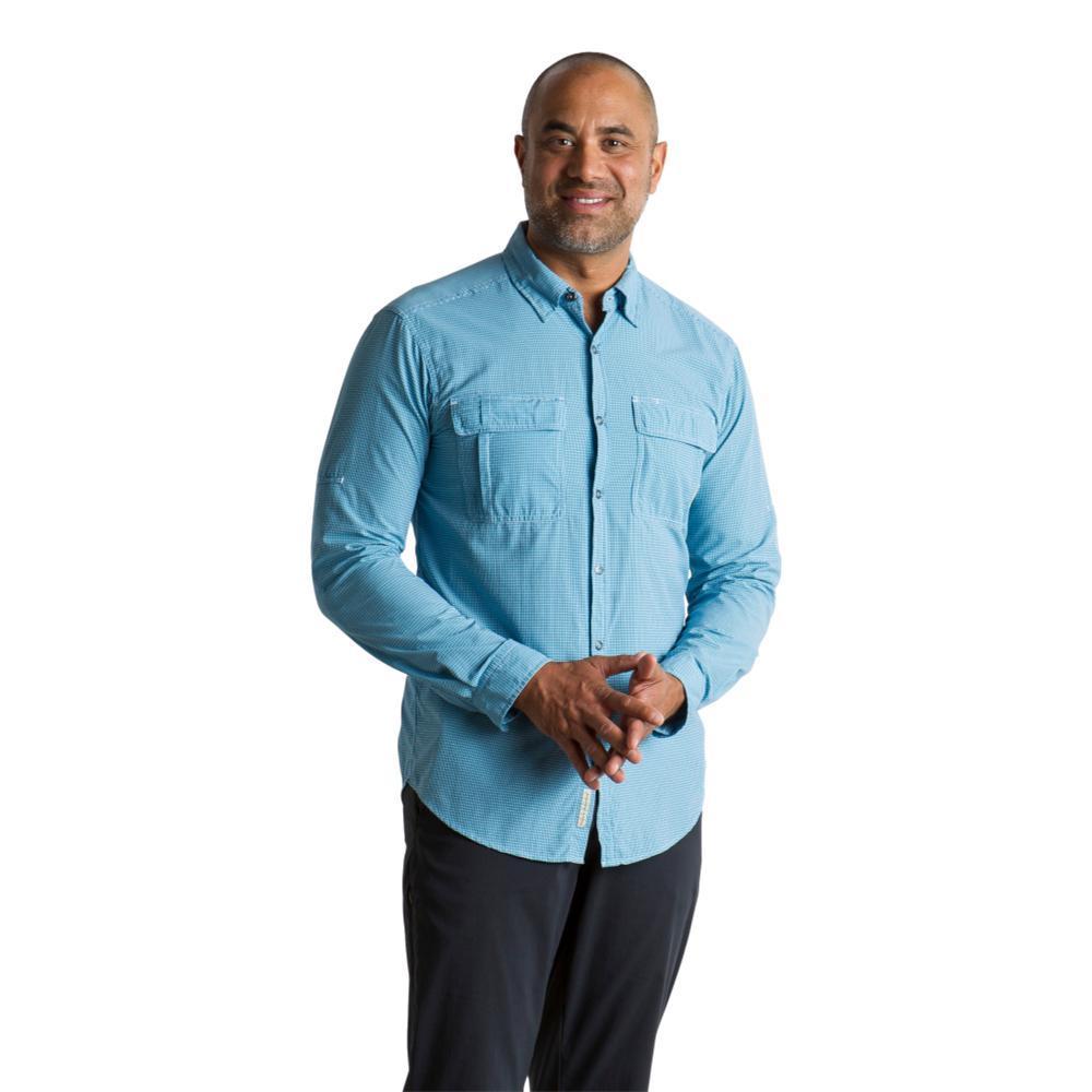 ExOfficio Men's BugsAway Halo Check Long Sleeve Shirt DARKNAVYCH