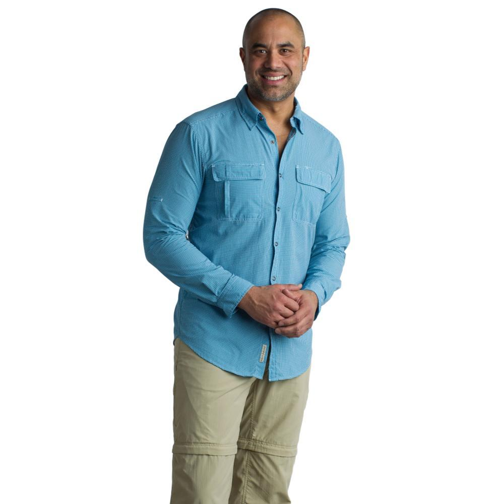 ExOfficio Men's BugsAway Halo Check Long Sleeve Shirt NAVYCH
