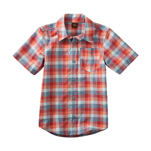 Tea Collection Boys Plaid Short Sleeve Button Shirt