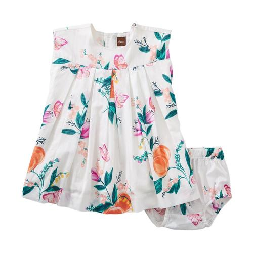 Tea Collection Infant Peach Floral Pleated Baby Dress