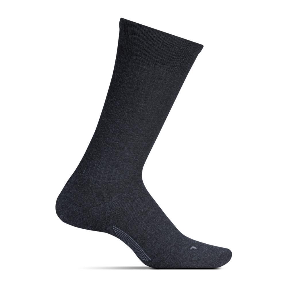 Feetures Men's Classic Rib Cushion Crew Socks CHARCOAL