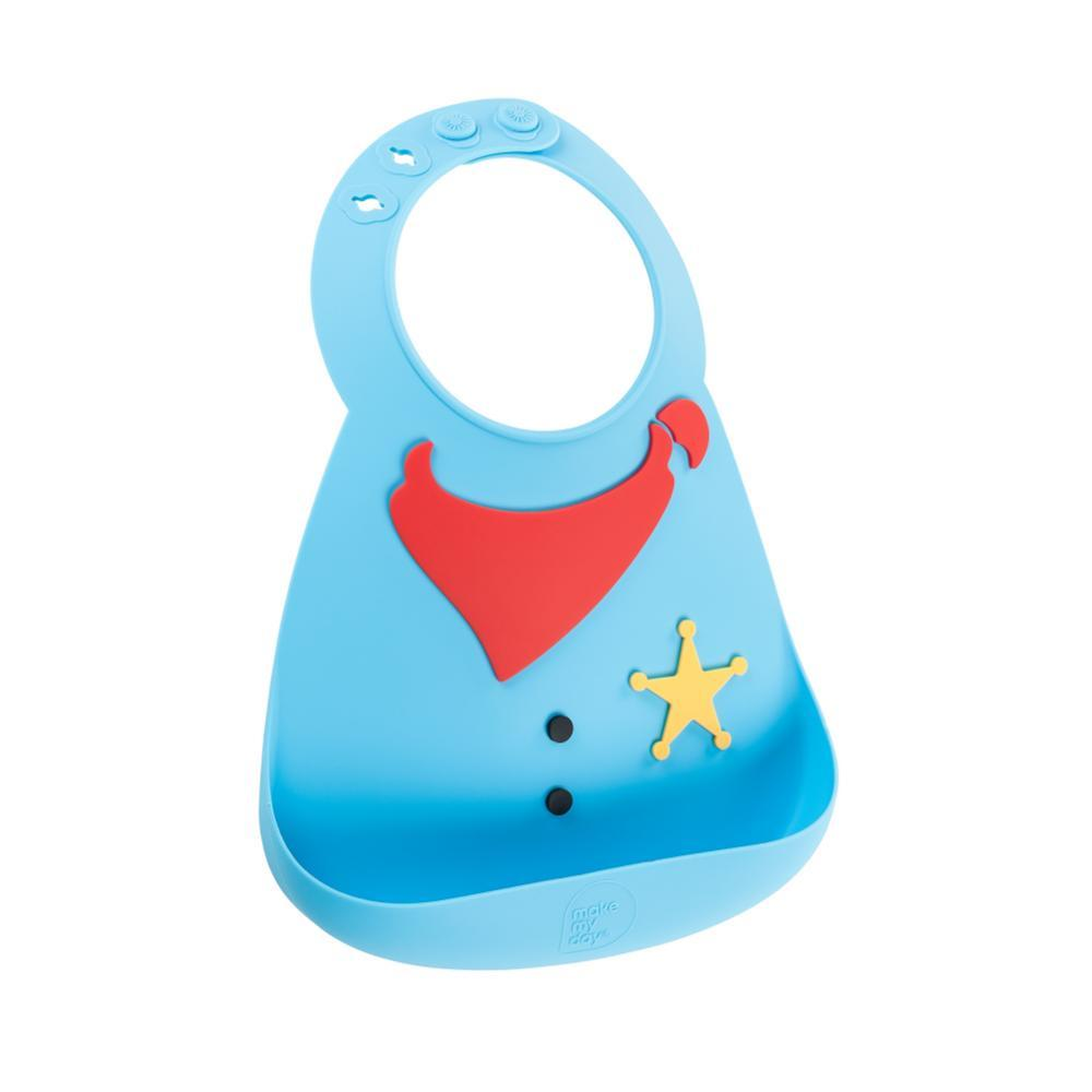 Make My Day Silicon Baby Bib - Round Em' Up SHERIFF