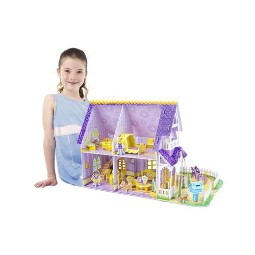 Melissa & Doug Pretty Purple Dollhouse 3D Puzzle & Dollhouse In One