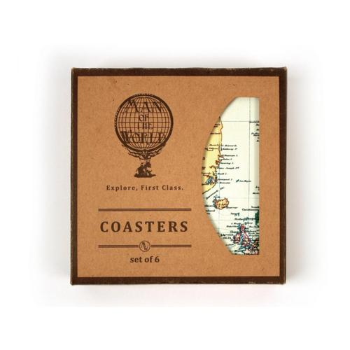 Gift Republic World Map Coasters Setof6