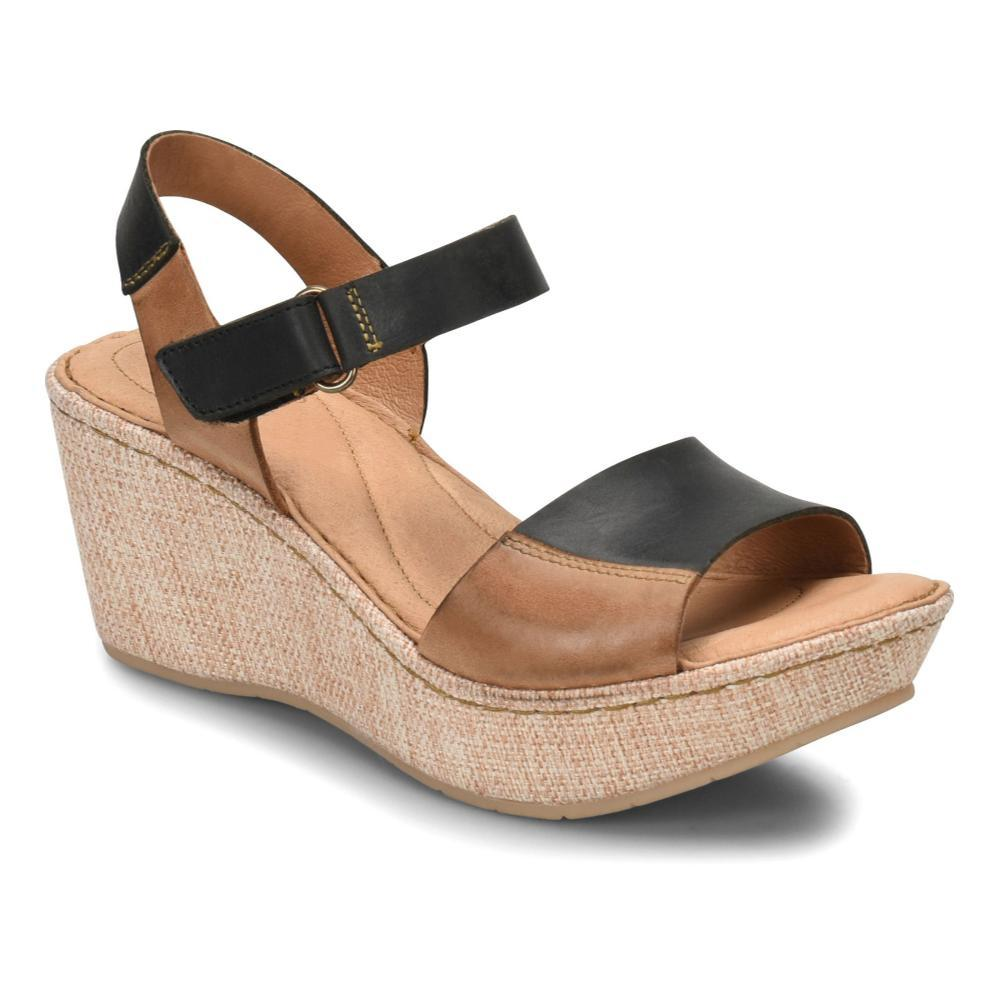 Born Women's Nectar Wedge Sandals BLKCAMEL