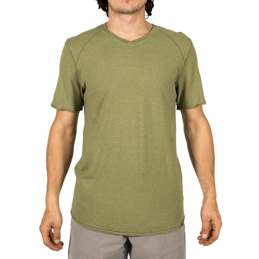Gramicci Men's Camura Short Sleeve V Neck Shirt CASTGREEN