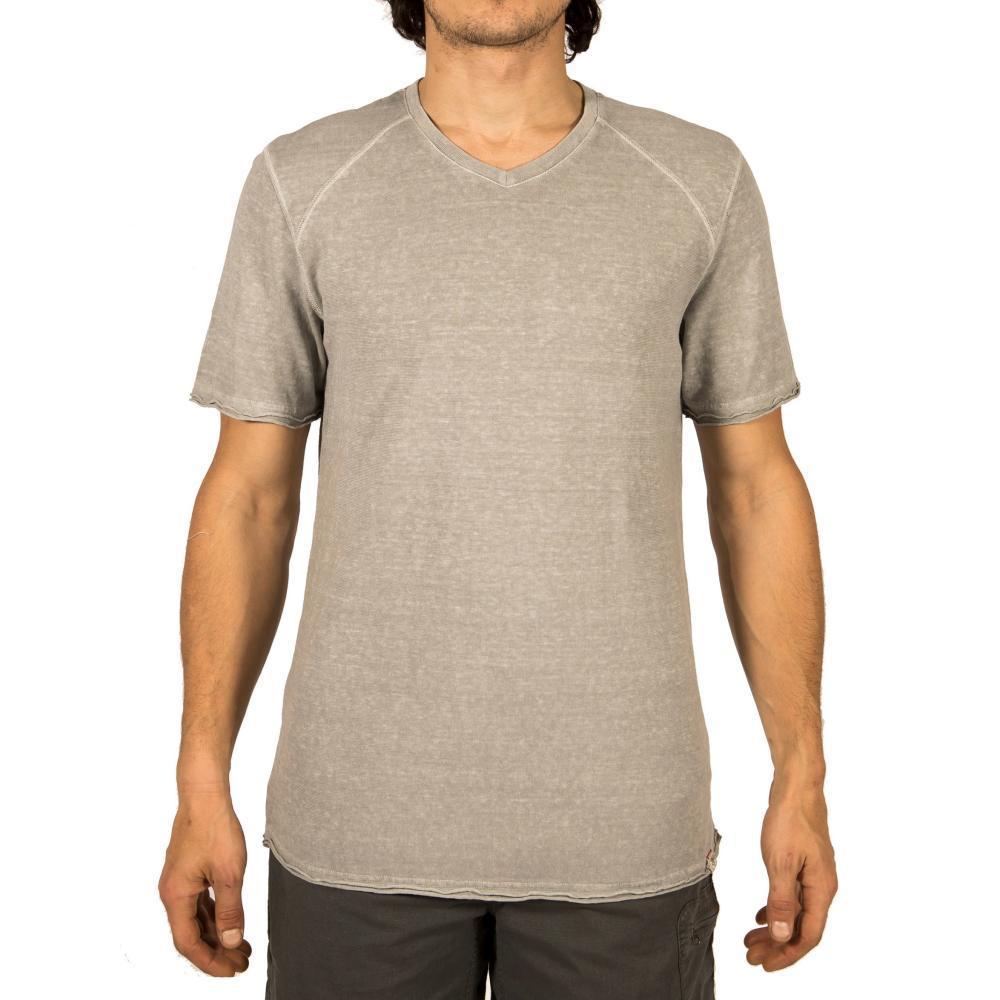 Gramicci Men's Camura Short Sleeve V Neck Shirt STAINSTEEL