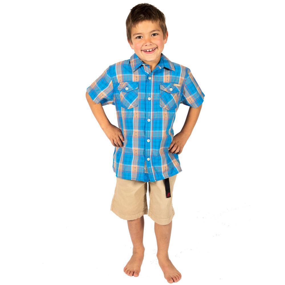 Gramicci Boys Link-Up Short Sleeve Shirt ASTERBLU