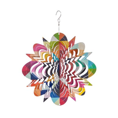 Evergreen Geometric Metal Spectrum Wind Spinner .