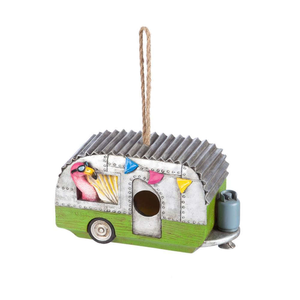 Evergreen Flamingo Camper Hanging Bird House