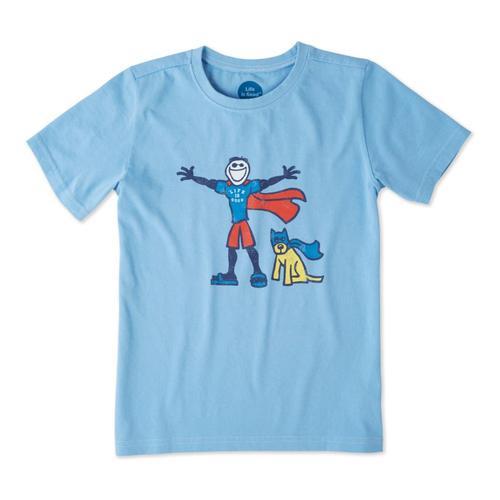 Life is Good Boys Superhero Jake And Rocket Crusher Tee Powdblu