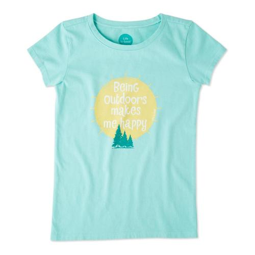 Life is Good Girls Outdoors Makes Me Happy Crusher Tee Coolaqua