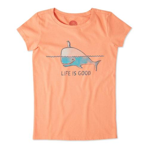Life is Good Girls Whale and Penguin BFF's Crusher Tee Frshcoral