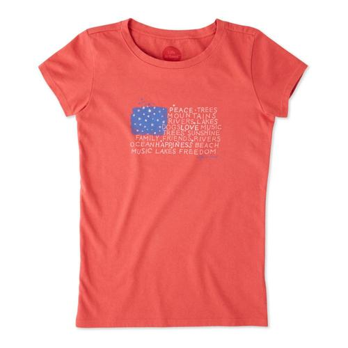 Life is Good Girls Peace Love Flag Crusher Tee Amered