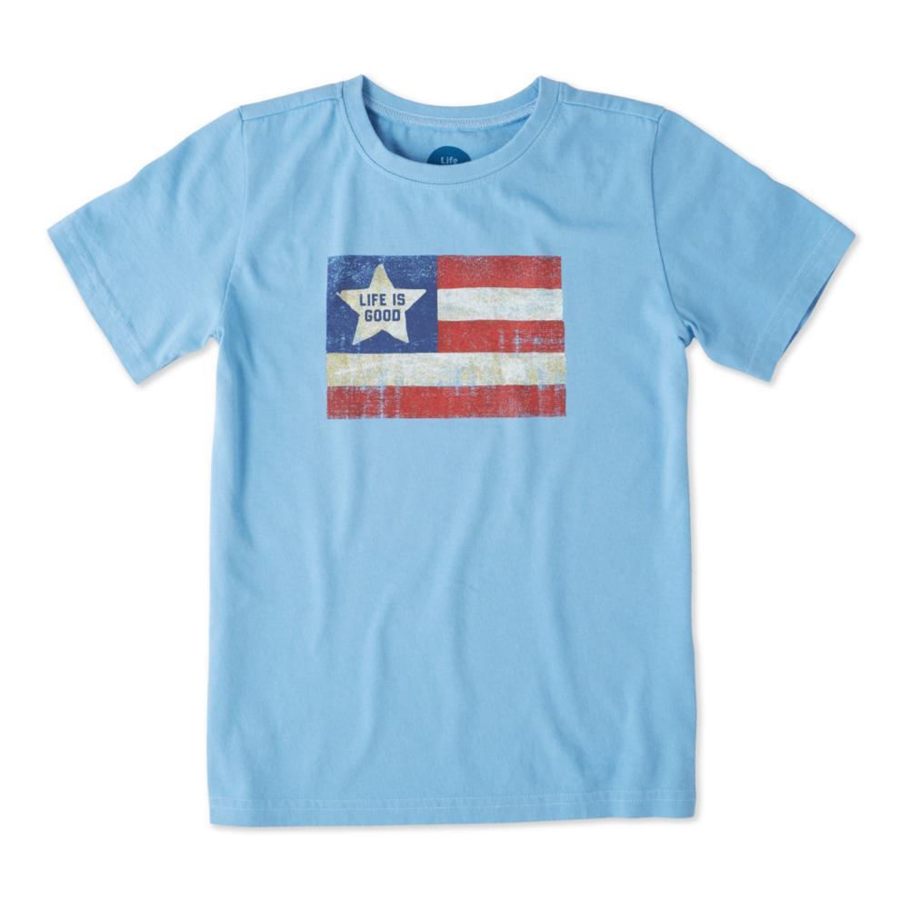 Life is Good Kids Vintage American Flag Crusher Tee POWDBLU