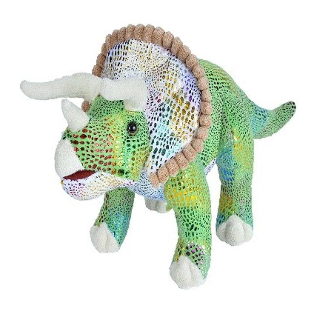 Wild Republic 18in Glitter Triceratops Dinosaur Stuffed Animal IRIDESCENTGREEN