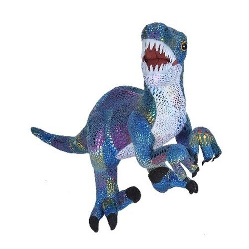 Wild Republic 18in Glitter Velociraptor Dinosaur Stufffed Animal With Teeth