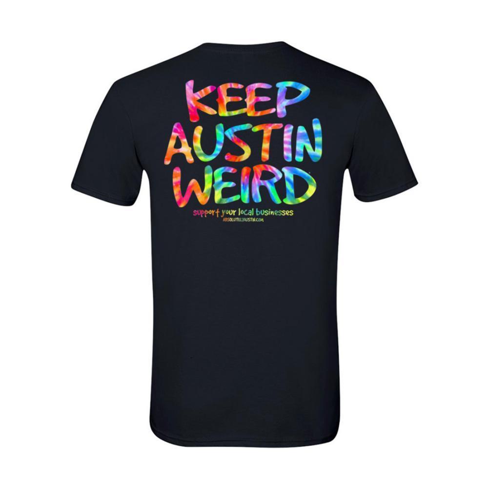 Outhouse Designs Unisex Keep Austin Weird Tie Dye T-Shirt BLACK