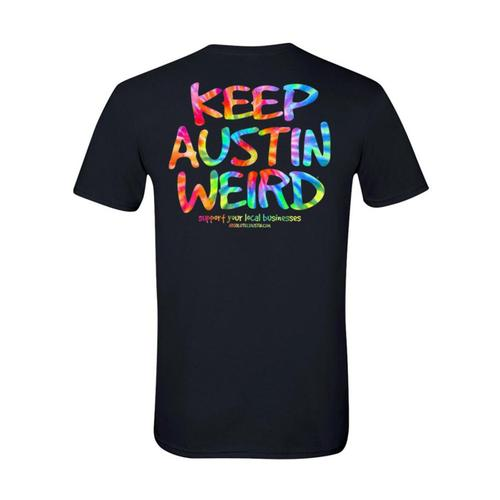 Outhouse Designs Unisex Keep Austin Weird Tie Dye T-Shirt Black