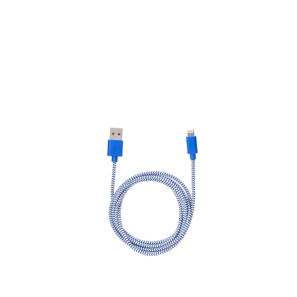 Kikkerland Design iPhone Lightning Blue Cotton Braided Charging Cable BLUE_WHITE