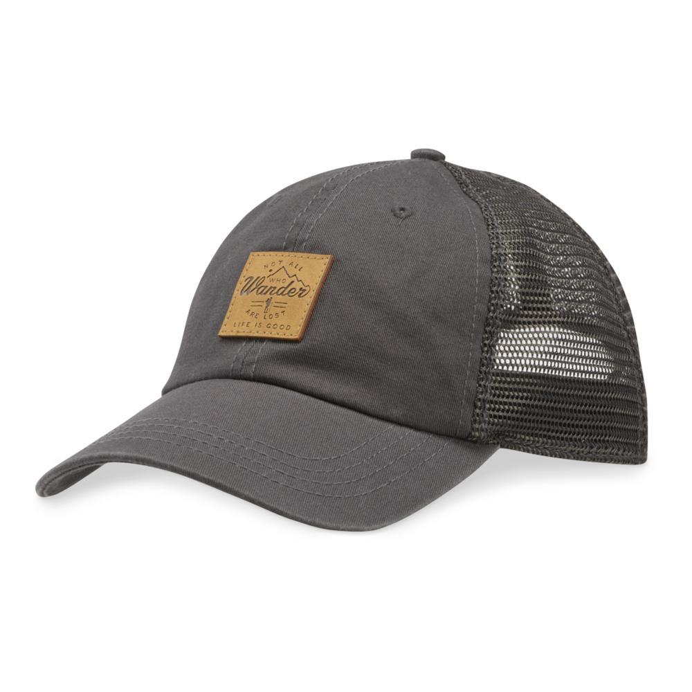 Life is Good Wander Hike Patch Soft Mesh Back Chill Cap SLATEGRAY