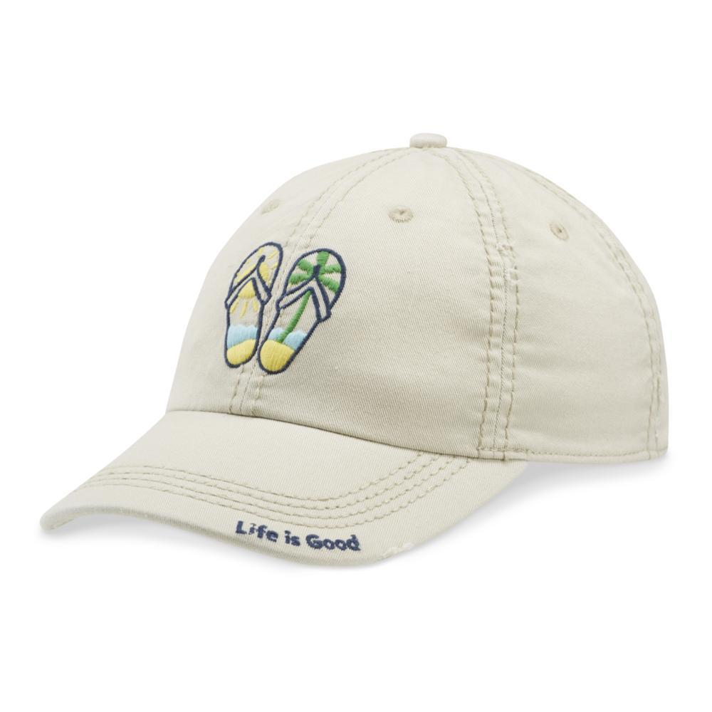 Life is Good Flip Flop Scene Sunwashed Chill Cap BONE