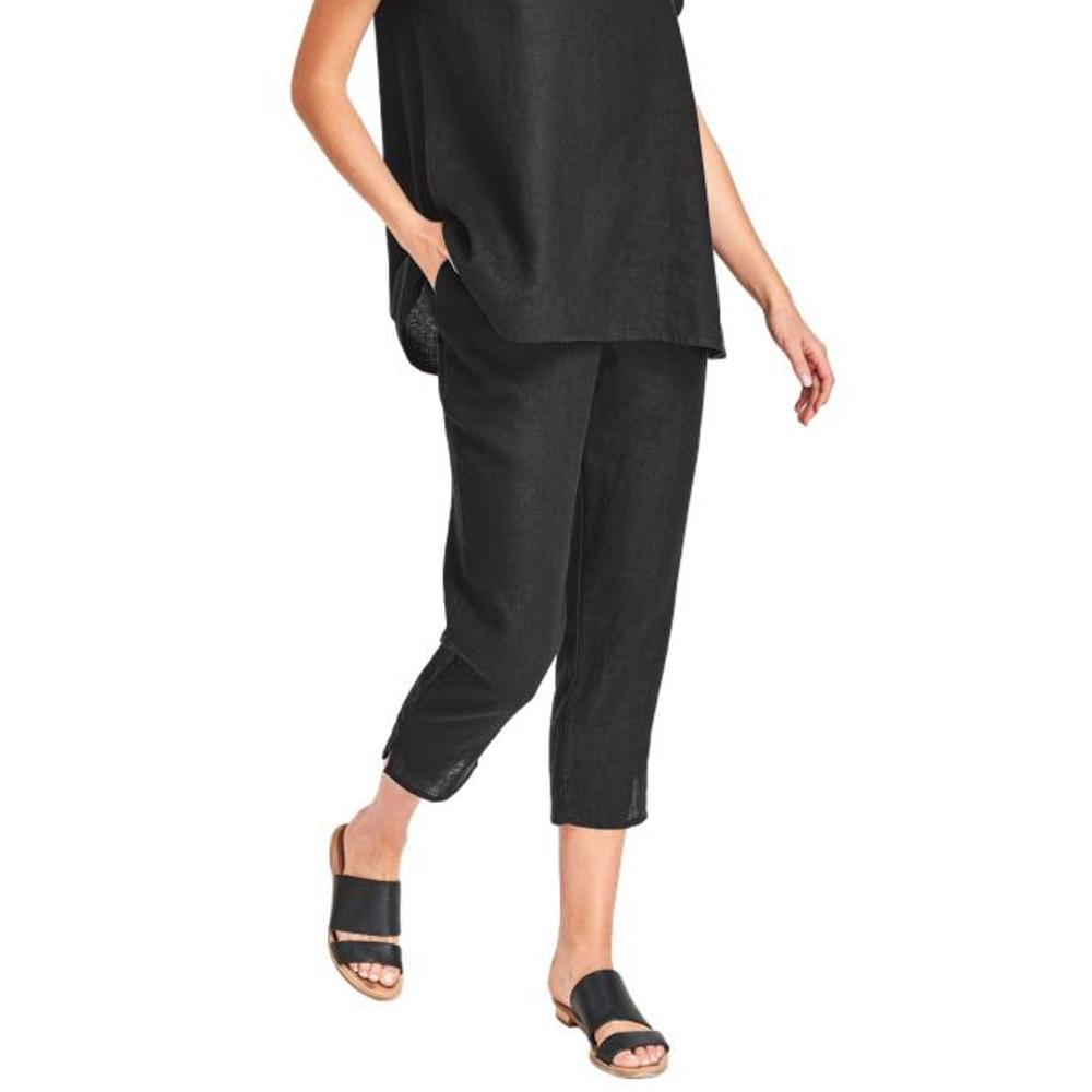 FLAX Women's Pocketed Ankle Pants EBONY
