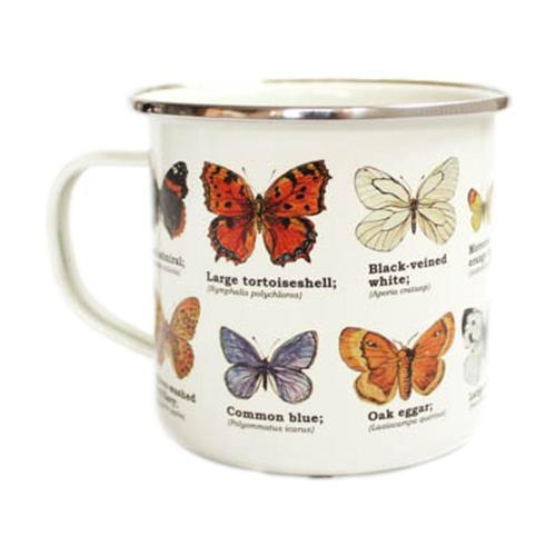 Gift Republic Multi Butterfly Enamel Mug Pale