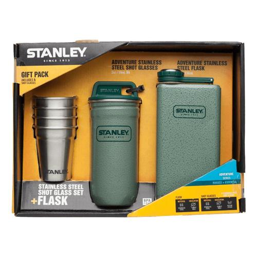 Stanley Adventure Steel Shots + Flask Gift Set Hammertone_grn