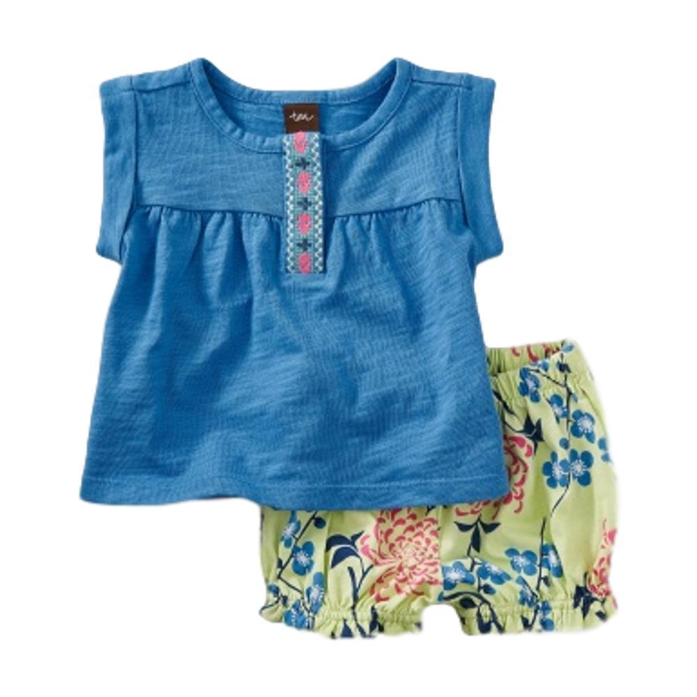 Tea Collection Infant Embroidered Floral Print Set ATLASBLUE