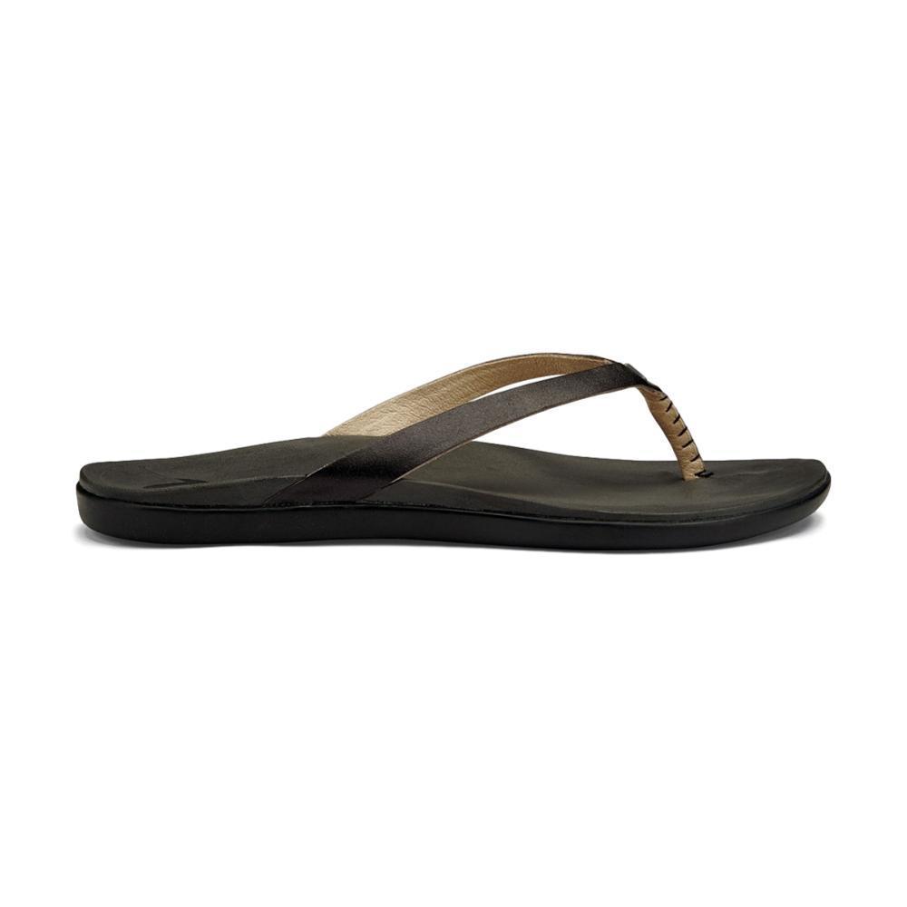 OluKai Women's Ho'opio Leather Sandals ONYXBLK
