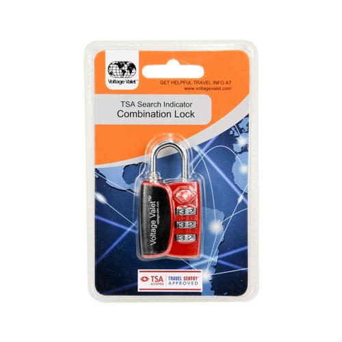 Voltage Valet 3 Dial Combination Lock With TSA Search Indicator Red