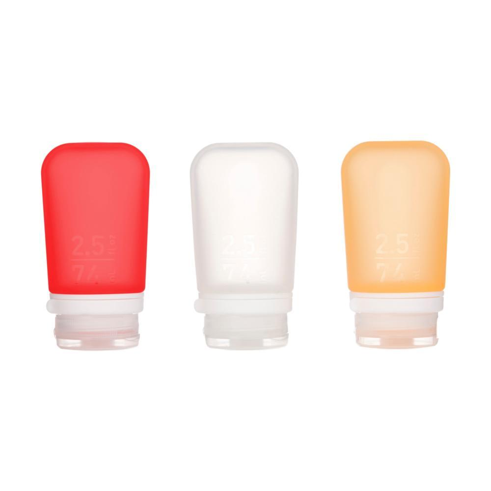 GoToob+ 2.5oz Silicone Bottle 3-Pack CLR.RED.ORG
