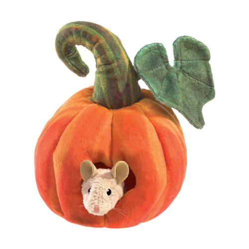 Folkmanis Mouse in Pumpkin Finger Puppet