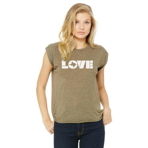 Gusto Tees Women's Love TX Block Text Cuffed Tank Htholive_8803