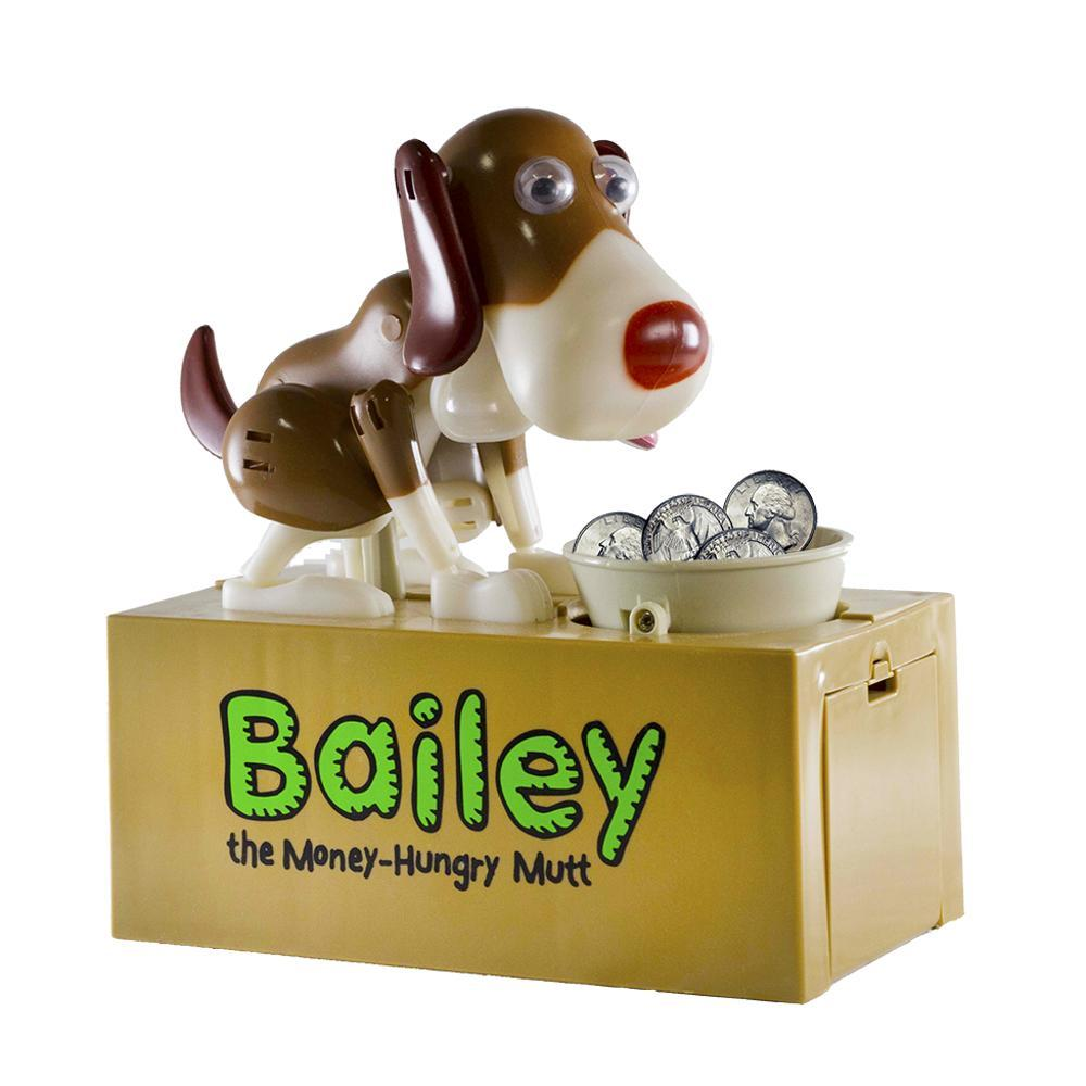 Leading Edge Bailey the Money-Hungry Mutt Coin Bank BROWN_WHT