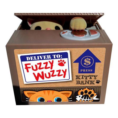 Leading Edge Fuzzy Wuzzy Kitty Coin Bank Yellow