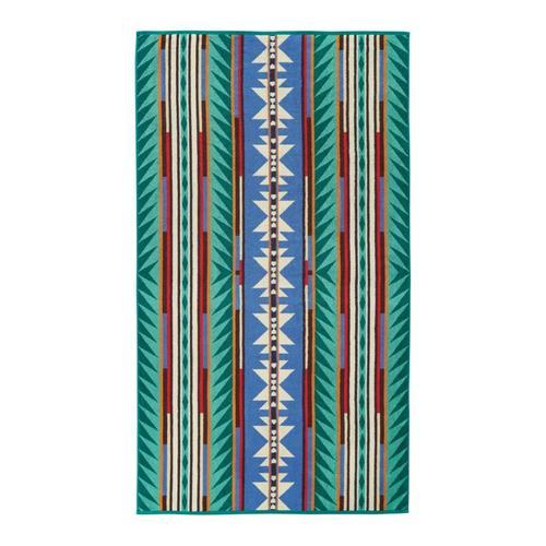 Pendleton Turquoise Ridge Oversized Jacquard Towel Turquoise
