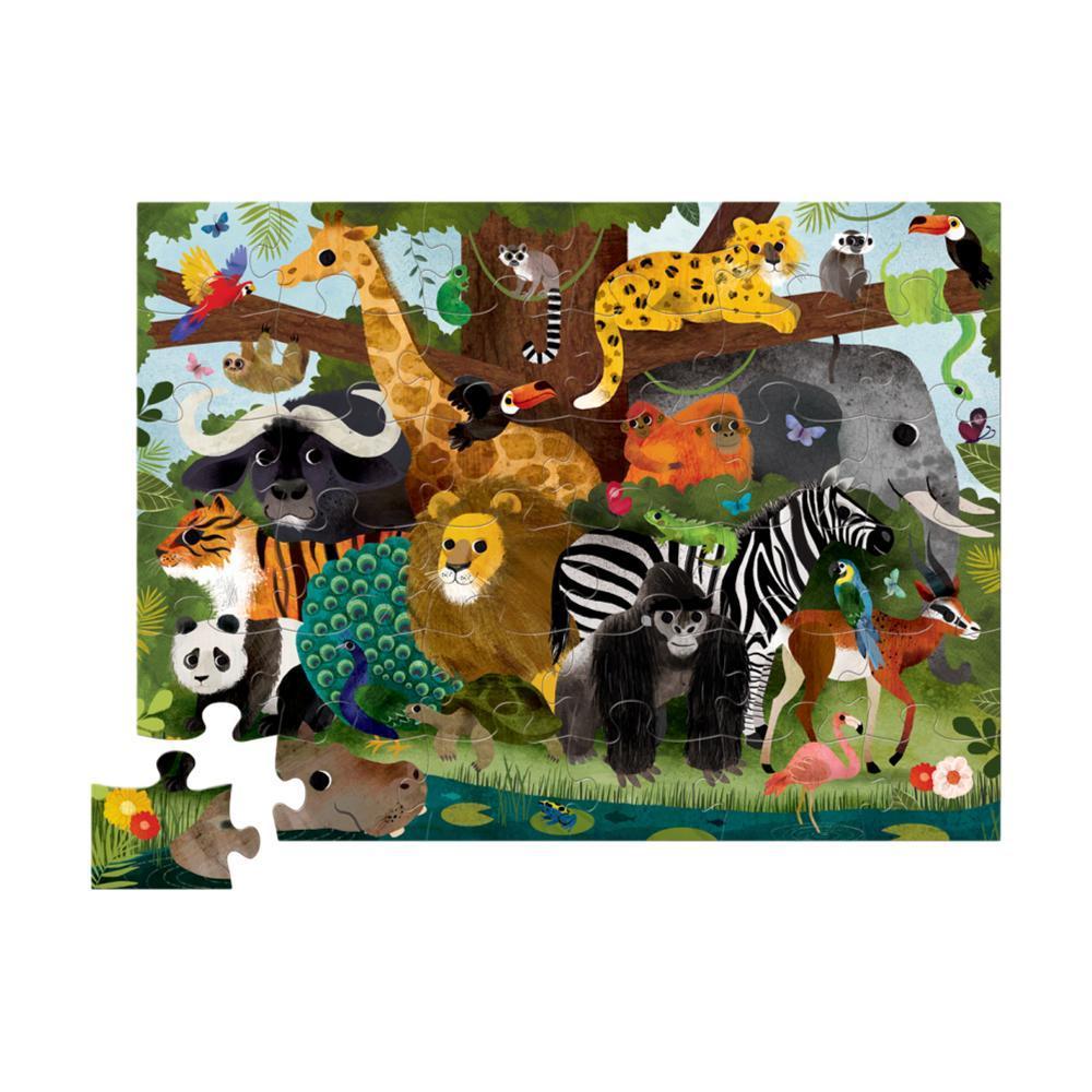Crocodile Creek Jungle Friends Shaped Puzzle - 36pc