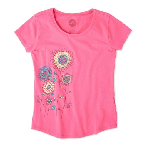 Life is Good Girls Playful Flowers Smiling Smooth Tee