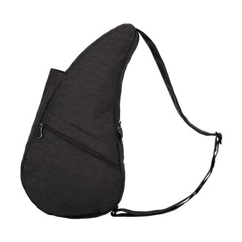 AmeriBag Healthy Back Bag Distressed Nylon Shoulder Bag - Small Black