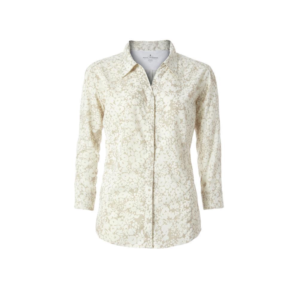 Royal Robbins Women's Expedition Dry Print 3/4 Sleeve Shirt CREME