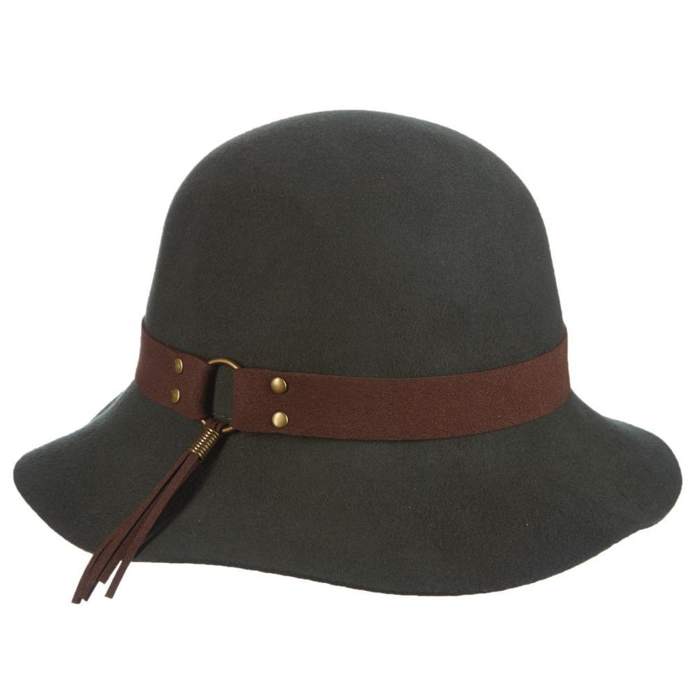 Dorfman-Pacific Co. Women's Cloche With Tassel Hat ARMY