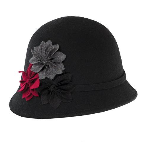 Dorfman-Pacific Co. Women's Cloche With Rosettes Hat Black